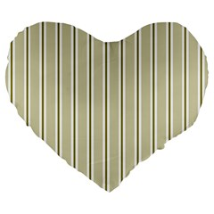 Pattern Background Green Lines Large 19  Premium Flano Heart Shape Cushions