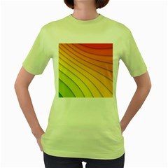 Abstract Pattern Lines Wave Women s Green T-Shirt
