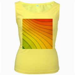 Abstract Pattern Lines Wave Women s Yellow Tank Top