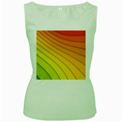 Abstract Pattern Lines Wave Women s Green Tank Top