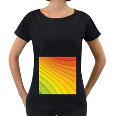 Abstract Pattern Lines Wave Women s Loose Fit T Shirt (black)
