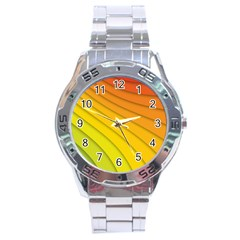 Abstract Pattern Lines Wave Stainless Steel Analogue Watch