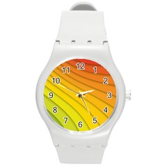 Abstract Pattern Lines Wave Round Plastic Sport Watch (m)