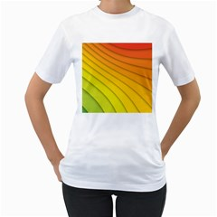 Abstract Pattern Lines Wave Women s T Shirt (white)