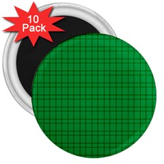 Pattern Green Background Lines 3  Magnets (10 pack)