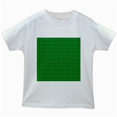 Pattern Green Background Lines Kids White T-Shirts