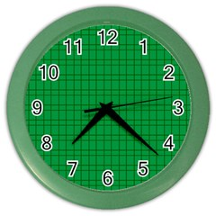 Pattern Green Background Lines Color Wall Clocks