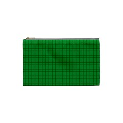 Pattern Green Background Lines Cosmetic Bag (Small)