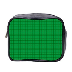 Pattern Green Background Lines Mini Toiletries Bag 2 Side