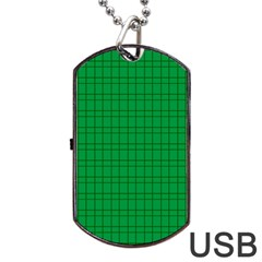 Pattern Green Background Lines Dog Tag Usb Flash (two Sides)