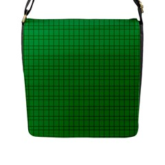 Pattern Green Background Lines Flap Messenger Bag (l)