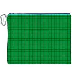 Pattern Green Background Lines Canvas Cosmetic Bag (XXXL)