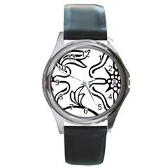 Decoration Pattern Design Flower Round Metal Watch
