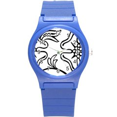 Decoration Pattern Design Flower Round Plastic Sport Watch (s)