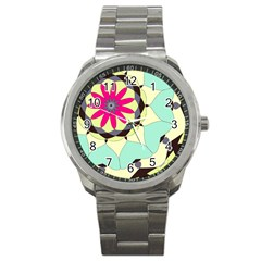 Pink Flower Sport Metal Watch
