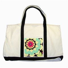 Pink Flower Two Tone Tote Bag