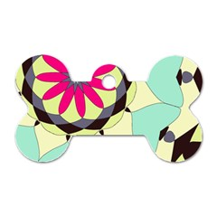 Pink Flower Dog Tag Bone (two Sides)