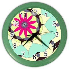 Pink Flower Color Wall Clocks