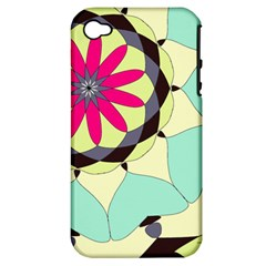 Pink Flower Apple Iphone 4/4s Hardshell Case (pc+silicone)