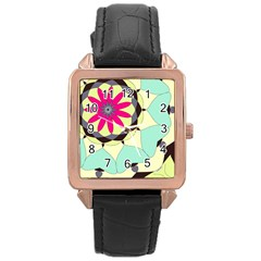Pink Flower Rose Gold Leather Watch