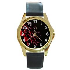 Pattern Design Abstract Background Round Gold Metal Watch
