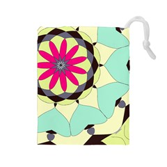 Pink Flower Drawstring Pouches (Large)