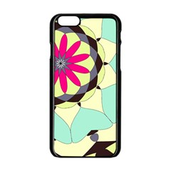 Pink Flower Apple Iphone 6/6s Black Enamel Case