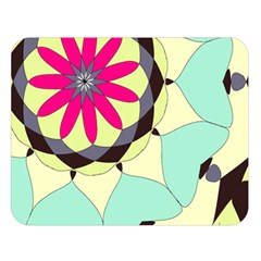 Pink Flower Double Sided Flano Blanket (large)