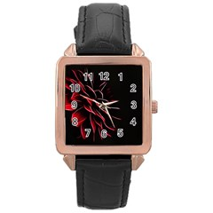 Pattern Design Abstract Background Rose Gold Leather Watch