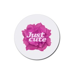 Just Cute Text Over Pink Rose Rubber Coaster (round)