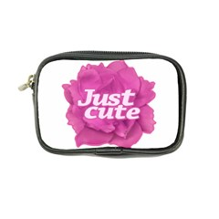 Just Cute Text Over Pink Rose Coin Purse