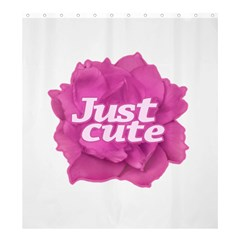 Just Cute Text Over Pink Rose Shower Curtain 66  x 72  (Large)