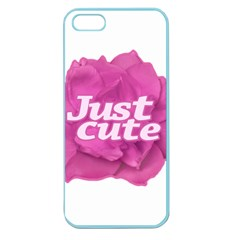 Just Cute Text Over Pink Rose Apple Seamless iPhone 5 Case (Color)
