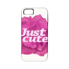 Just Cute Text Over Pink Rose Apple iPhone 5 Classic Hardshell Case (PC+Silicone)