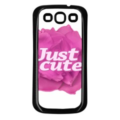 Just Cute Text Over Pink Rose Samsung Galaxy S3 Back Case (Black)