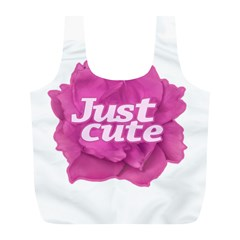 Just Cute Text Over Pink Rose Full Print Recycle Bags (L)