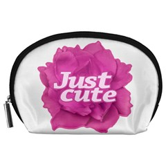 Just Cute Text Over Pink Rose Accessory Pouches (Large)
