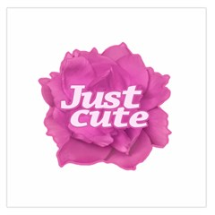 Just Cute Text Over Pink Rose Large Satin Scarf (Square)