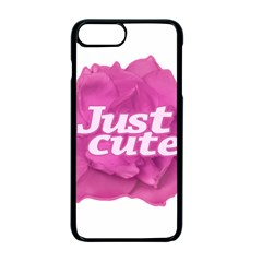 Just Cute Text Over Pink Rose Apple Iphone 7 Plus Seamless Case (black)