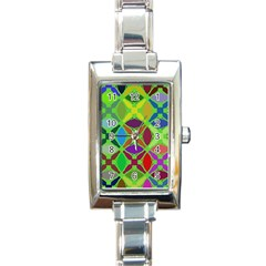 Abstract Pattern Background Design Rectangle Italian Charm Watch