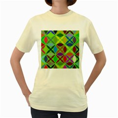 Abstract Pattern Background Design Women s Yellow T-Shirt