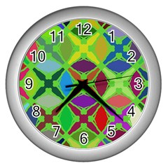 Abstract Pattern Background Design Wall Clocks (silver)