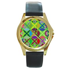 Abstract Pattern Background Design Round Gold Metal Watch