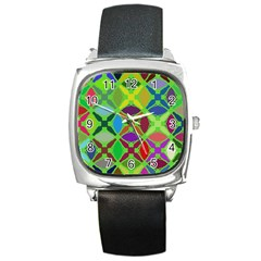 Abstract Pattern Background Design Square Metal Watch