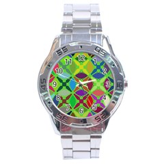 Abstract Pattern Background Design Stainless Steel Analogue Watch