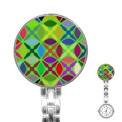 Abstract Pattern Background Design Stainless Steel Nurses Watch