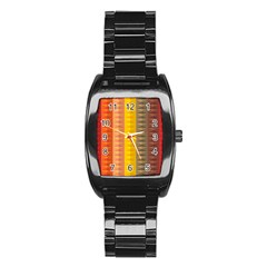 Abstract Pattern Background Stainless Steel Barrel Watch