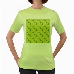 Christmas Wrapping Paper Pattern Women s Green T Shirt