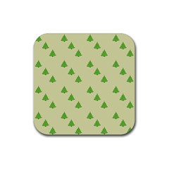Christmas Wrapping Paper Pattern Rubber Square Coaster (4 Pack)