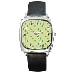 Christmas Wrapping Paper Pattern Square Metal Watch